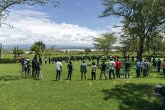 教练对旅馆职员的训练关于纳库鲁湖 库存照片