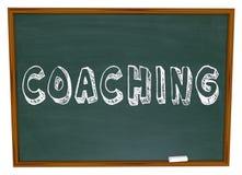 教练教词的黑板学会体育教育 免版税库存图片