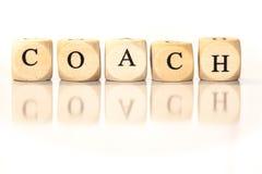 教练被拼写的词,与反射的模子信件 库存照片