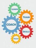 教练,在难看的东西平的设计齿轮学会,训练,技能,教 免版税库存照片