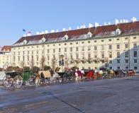 教练,所谓的Fiaker,在维也纳冬天 免版税库存照片