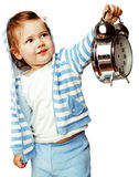 敞篷的小逗人喜爱的女孩有时钟在白色背景关闭隔绝的警报藏品的  图库摄影