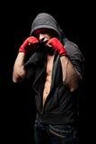 敞篷的拳击手在黑色背景 免版税库存照片