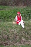 敞篷红色骑马木头 库存图片