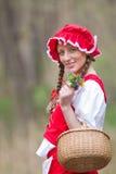敞篷红色骑马木头 免版税库存图片