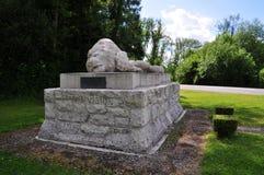 散布鸢尾花纹一个死的狮子nearthe的村庄的纪念碑 免版税库存照片
