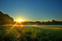 散开在清早薄雾的阳光 库存照片