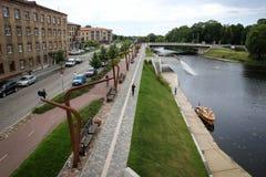 散步在叶尔加瓦市,拉脱维亚 库存照片
