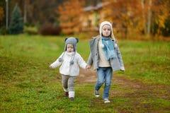散步晚秋天的两个妹 免版税库存图片