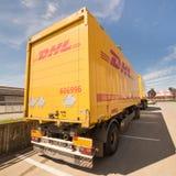 敦豪航空货运公司卡车 库存图片