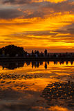 敬佩在Debod公园,马德里寺庙的人们日落  免版税库存照片