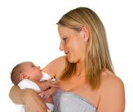 敬佩她的婴孩 免版税库存图片