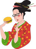 敬佩汉堡包的日本妇女 免版税库存照片