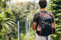 敬佩瀑布的年轻男性远足者 库存图片