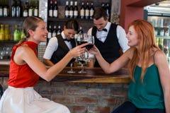 敬酒一块红葡萄酒玻璃的愉快的妇女在酒吧柜台 库存照片