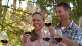 敬酒与他们的家庭的愉快的夫妇 影视素材