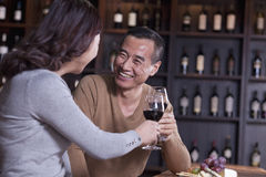 敬酒和开心的成熟夫妇饮用的酒,在男性的焦点 库存照片