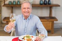 敬酒在圣诞晚餐的微笑的人 免版税库存照片