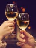 敬酒在被点燃的壁炉前面的夫妇葡萄酒杯 图库摄影