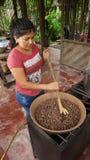 敬酒恶豆的年轻拉丁妇女在一个小气体厨房里 敬酒可可子是过程的部分做的手工制造c 库存图片
