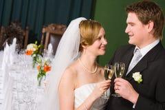 敬酒新娘和新郎 免版税图库摄影
