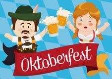 敬酒用在慕尼黑啤酒节的啤酒,传染媒介例证的传统巴法力亚夫妇 向量例证