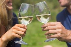 敬酒用白葡萄酒的逗人喜爱的夫妇 免版税库存图片