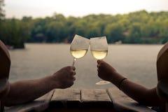敬酒的两杯酒 免版税库存图片