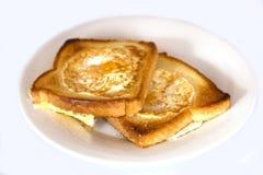 敬酒的面包油煎用里面鸡蛋 查出 库存图片
