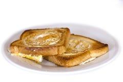 敬酒的面包油煎用里面鸡蛋 查出 库存照片