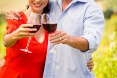 敬酒酒的夫妇的中央部位 库存图片