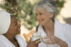 敬酒饮料的妇女 免版税库存照片