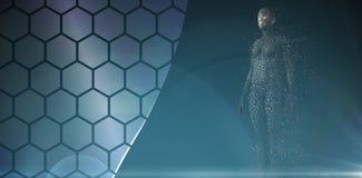 数位pixelated 3d妇女的综合图象 免版税库存图片