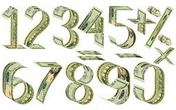 数字、百分之和数学符号从美元 免版税库存图片