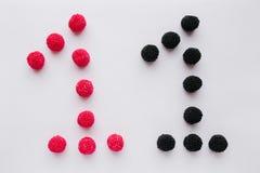 数字一个在黑和红色被写在一白色backgroun 免版税库存图片