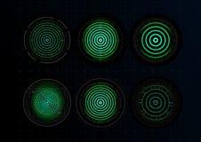 数字保障系统象集合 指纹,绿色全息照相的同心圆 身分图表元素 ?? 皇族释放例证