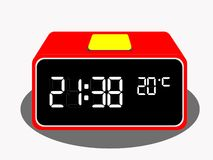数字台式时钟传染媒介 库存例证