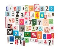 数字和标志从报纸 免版税库存图片