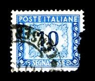 数字和装饰,邮费交付serie,大约1957年 免版税库存照片