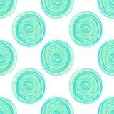 数字圈子成螺旋形在白色背景的蓝色无缝的样式 库存例证