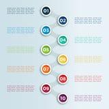 数字在圈子Infographic模板的连接的子弹点 库存图片