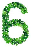 数字在白色背景隔绝的绿色装饰小卵石六  库存图片
