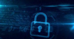 数字在网际空间的挂锁标志 皇族释放例证