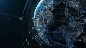 数字在行星地球附近,未来的技术的自转的动画 向量例证