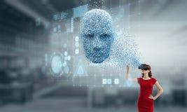 数字头、人工智能和虚拟现实 r 图库摄影