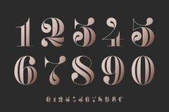 数字字体在古典法国didot的 库存例证