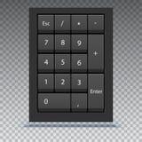 数字小键盘,看法的关闭 与数字,在键盘的计算机键盘的计算器numpad在透明背景 库存图片