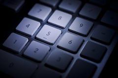 数字小键盘细节黑暗 免版税图库摄影