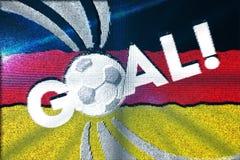 数字式与一个足球的题字目标与德国的旗子 库存照片