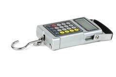数字式与固定计算器的鱼钩称重者 库存照片